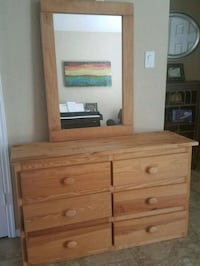 Wooden dresser and mirror - 6 drawers Houston, 77094