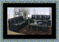 U6900 black bonded leather sofa and loveseat Bowie