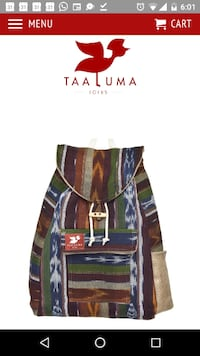 "This Taaluma ""Carry Country"" backpack is one from the ""Guatamala"" line. Toronto"