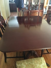 rectangular brown wooden table with four chairs dining set HALEDON
