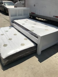 Solid wood twin size bed w/twin roll out under (Mattress included ) Lynwood, 90262