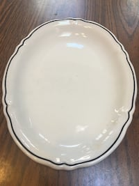 "Vintage Shenango China Oval Plate with black stripe 10x8"" Freehold, 07728"