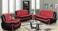 red leather sofa set with coffee table Houston, 77041