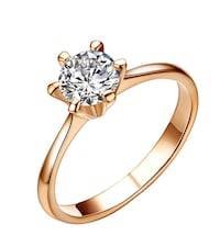 Six Prong Cubic Crystal Solitaire Engagement Ring, 18K Rose Gold Plated Jewelry Brampton, L6P 1E6