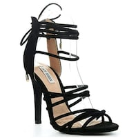 Pair of black open toe ankle strap heels Brampton, L6Y 3M8