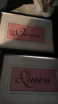 two pink-and-black princess and queen printed papers with silver frames Edmonton, T5R 3Z5