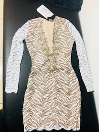 white and gold long-sleeved mini dress Miami, 33165