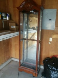 brown wooden framed glass display cabinet Albuquerque, 87114