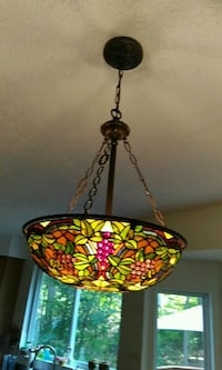 Colorful wine grape stained glass lamp Covington, 41015