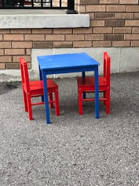 blue, yellow, and red plastic table Ajax, L1Z