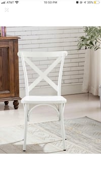 White Dining Chair Vintage Farmhouse Cross Back Metal Industrial