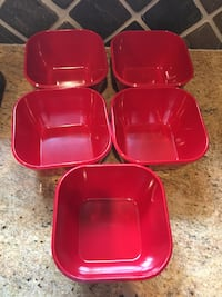 Set of 5 Red plastic bowls dishes St Paul