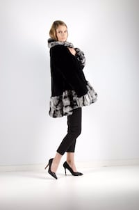 Women's black and gray coat with black dress pants