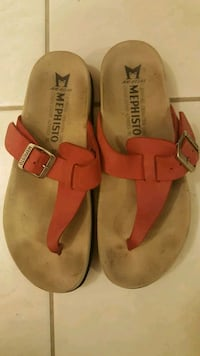 Red mephisto buckle sandals