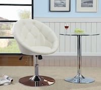 Brand new white leather vanity chair dining stool  La Puente