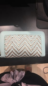 woven silver and teal leather long wallet