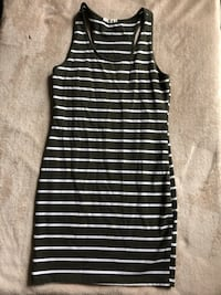 Olive green and cream striped dress Reading, 19606