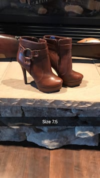 pair of size 7.5 brown leather side-zip high-heeled harness booties Central Okanagan, V1Z 4A9