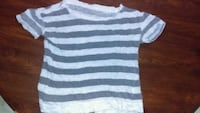 white and gray striped scoop-neck t-shirt