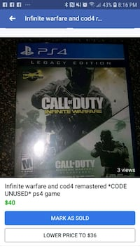 Call of Duty Infinite Warfare PS4 game case Kitchener, N2B 3H5