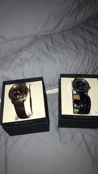 two Bulova round brown and black analog watches with leather straps and box Orange Cove, 93646