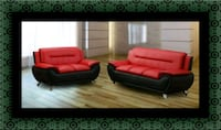 Red black sofa and loveseat 2pc set