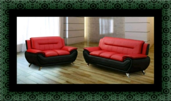 Red black sofa and loveseat 2pc set a19a1d92-c66d-44a2-98bb-7bef27626335