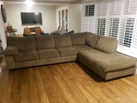 brown suede sectional sofa with throw pillows Burlington, L7R 2B3