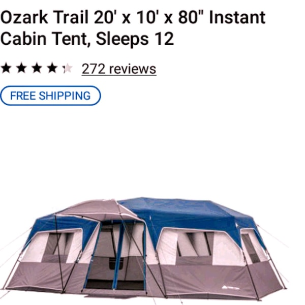 blue and white Ozark Trail tent