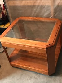 rectangular brown wooden framed glass-top coffee table Myrtle Beach, 29579