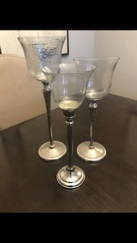 Three silver iron and glass candle holders Oxon Hill, 20745