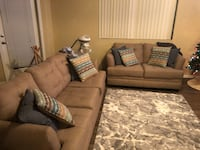 Brown fabric sectional sofa with throw pillows Goodyear, 85395