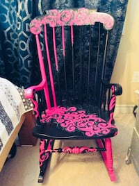Pink, black and silver metallic hand painted custom rocking chair London, N6K 2B7