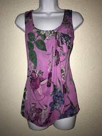 Medium women's purple and black floral spaghetti strap top