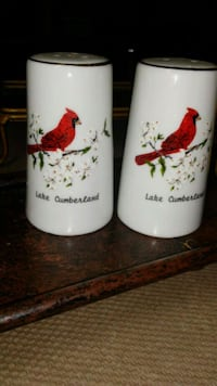 two white and red ceramic mugs Middletown, 45042