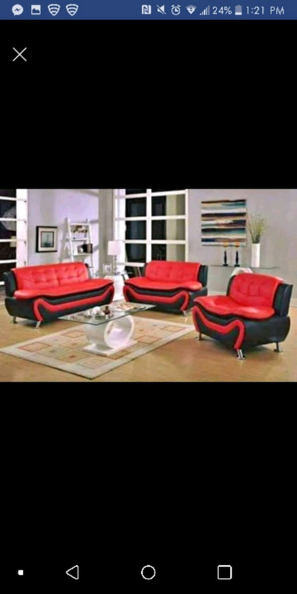 Used red and black living room set for sale in Austin - letgo