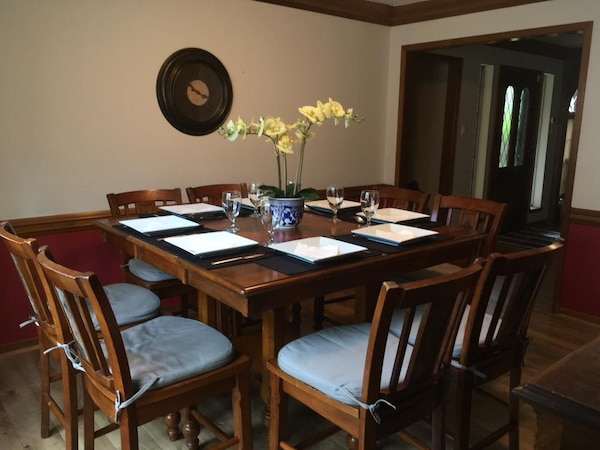 Counter Height Dining Room Extension Table - 8 chairs
