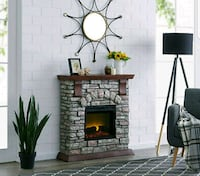 Fireplace Electric Insert Heater Wall LED Bold Flame Faux Stone Remote Brooklyn, 11215