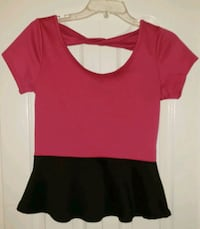 Size Medium Fuschia Black Peplum Short Sleeve Top