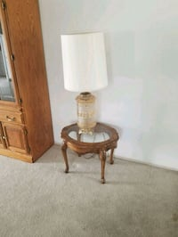 brown wooden base white shade table lamp 1943 mi
