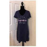 "NWT Nautica ""Let It Snow"" Soft Sleepshirt..Navy & Pinks/Lavender..Sz M Virginia Beach, 23451"