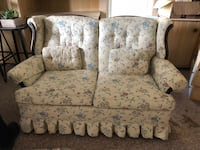 White and gray floral fabric loveseat Washington, 07882