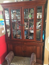 brown wooden china cabinet with glass display cabinet London, N5Z 4S9