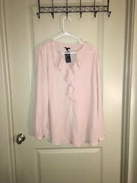 Women's XXL pink top with ruffles-new with tag