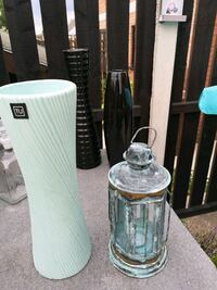 Turquoise vase and candle holder  West Yorkshire, WF10 5ES
