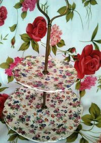 2 Tier Cake Plate Dessert Stand Made in Japan Floral Pattern