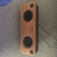 Beige and brown portable speaker