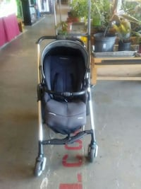 baby's gray and black umbrella stroller