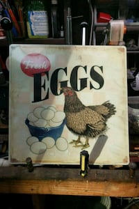 New still wrapped chicken eggs metal sign Chino Hills, 91709