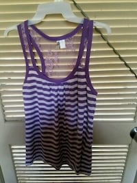Lavender Striped & Lace Back Tank  Ocean Springs, 39564
